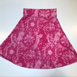LULAROE women's Flared Skirt Sz XL Pink w Butsts